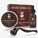 Beard Growth Kit, VIKICON Bartpflege Set, Bartwachstum Kit für...